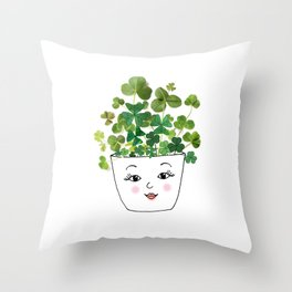 Shamrock Face Vase Throw Pillow