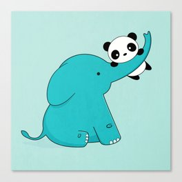 Kawaii Cute Panda and Elephant Canvas Print