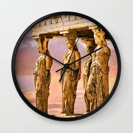 Porch of the Caryatids, Temple of Athena, Acropolis, Greece Portrait Painting Wall Clock