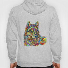 Colorful Psychedelic Rainbow Wolf Hoody