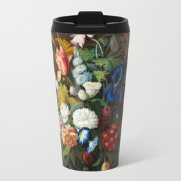 Flower Still Life with Bird's Nest, 1853 Travel Mug