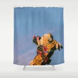 Cowboy on Horse Neon Sign Shower Curtain