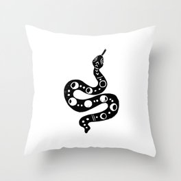 Linocut snake minimal animal reptile nature printmaking desert southwest snakes Throw Pillow
