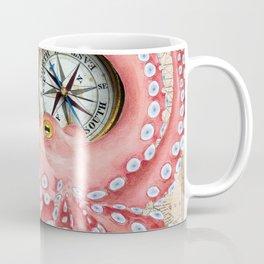 Red Octopus Vintage Map Compass Coffee Mug