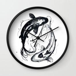 Nature Ying Yang Koi Fish Wall Clock