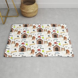 Shetland Sheepdog Dog Half Drop Repeat Pattern Rug