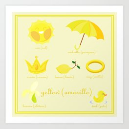 Colors: yellow (Los colores: amarillo) Art Print