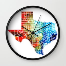 Texas Map - Counties By Sharon Cummings Wall Clock
