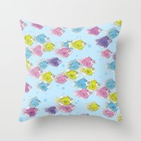 school Throw Pillows featuring School by Rebel June