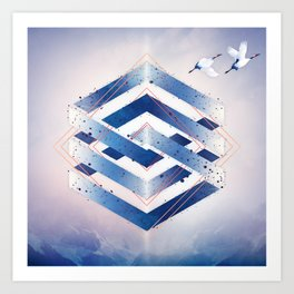 Indigo Hexagon :: Floating Geometry Art Print