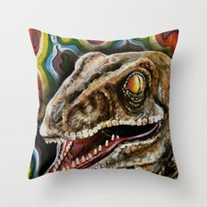 Rainbow Raptor:: Colorful Dinosaur Throw Pillow