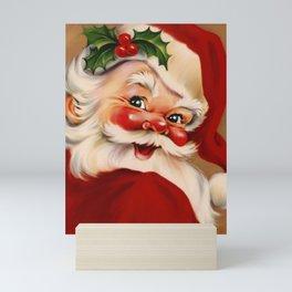 Golden vintage santa claus Mini Art Print