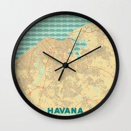 Havana Map Retro Wall Clock
