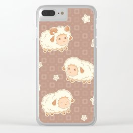 Cute Little Sheep on Brown Clear iPhone Case