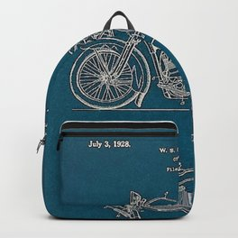 1902 Motorcycle Blueprint Patent in blue Backpack