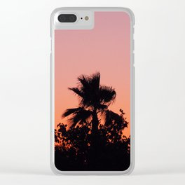 Palm Trees on Purple Clear iPhone Case