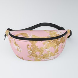 Prince & Princess Pink Marble With Royalty Gold Veins Fanny Pack