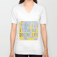numbers V-neck T-shirts featuring Big Numbers  by Ethna Gillespie