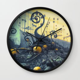 Yellow Eggs in Pistachio Forest Wall Clock
