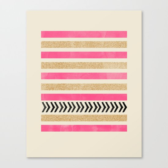 PINK AND GOLD STRIPES AND ARROWS Canvas Print