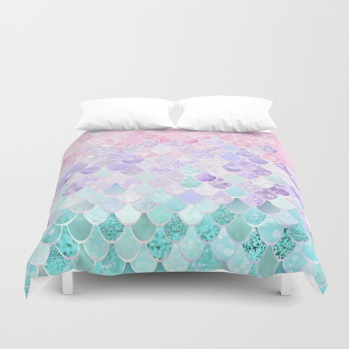 Mermaid Pastel Iridescent Duvet Cover