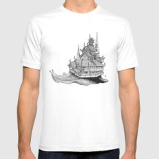 Snail Temple Mens Fitted Tee White LARGE