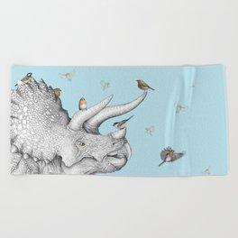 Triceratops and Birdies Beach Towel