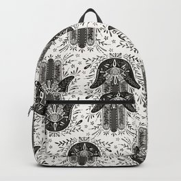 Hamsa Hand – Black & Grey Palette Backpack