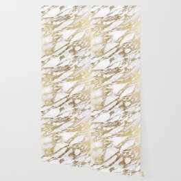 Chic Elegant White and Gold Marble Pattern Wallpaper