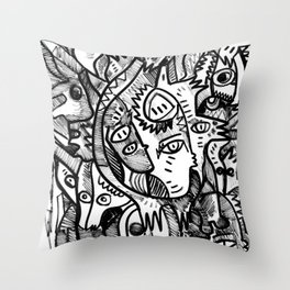 What is in my Head Black and White Hand Drawn  Graffiti Art Throw Pillow