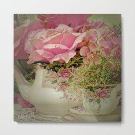 Teacups and Roses 2 Metal Print