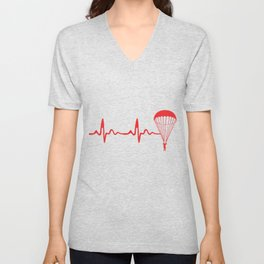 Skydiving Heartbeat Skydive Extreme Sports Parachute Skydiving Gifts Unisex V-Neck