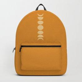 Minimal Moon Phases - Golden Orange Backpack