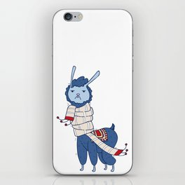 Unamused Llama Christmas Themed - Blue iPhone Skin