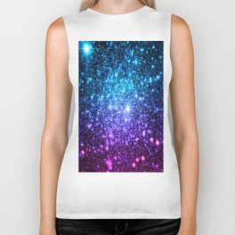 Glitter Galaxy Stars : Turquoise Blue Purple Hot Pink Ombre Biker Tank