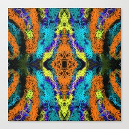 psychedelic graffiti geometric drawing abstract in orange yellow blue purple Canvas Print