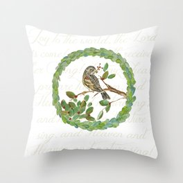 Winter Finch holiday wreath Throw Pillow