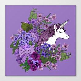 Unicorn in a Purple Garden Canvas Print