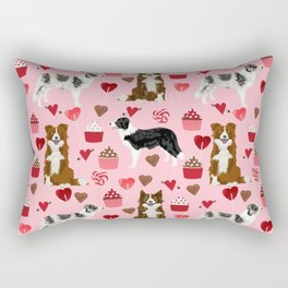 Border Collie valentines day cupcakes heart love dog breed collies gifts Rectangular Pillow