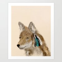 coyote Art Prints featuring Coyote by bri.buckley
