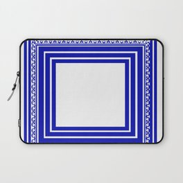 Blue and White Lines Geometric Abstract Pattern Laptop Sleeve