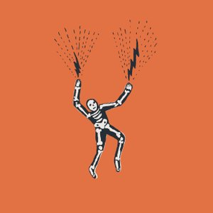 illustration of a skeleton dancing with lightning shooting out of its hands