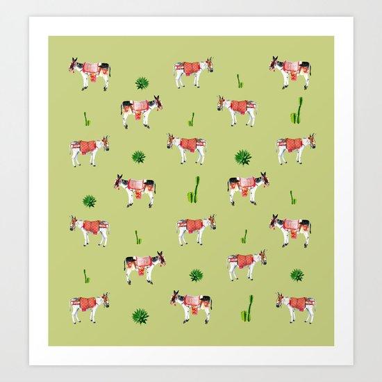 donkeys and cactuses Art Print