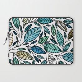 Leaf Illustration - Blue Green - P07 010 Laptop Sleeve