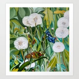 Grasshoppers and Dandelions (Oil Painting) Art Print