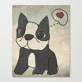 Hand Drawn and Quirky Boston Terrier San Jones Illustration Canvas Print