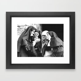 Smoking Nuns, Black and White, Vintage Wall Art Framed Art Print