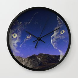 Cat and night sky Wall Clock