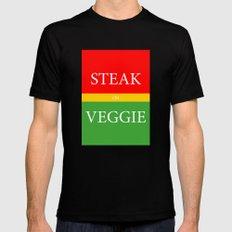STEAK or VEGGIE MEDIUM Mens Fitted Tee Black