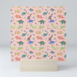 Dinosaur Kids Colorful Pattern - Pink Theme Mini Art Print